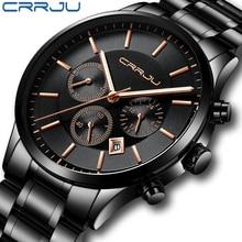 CRRJU Luxury Brand Men Stainless Steel Chronograph Watch Sty