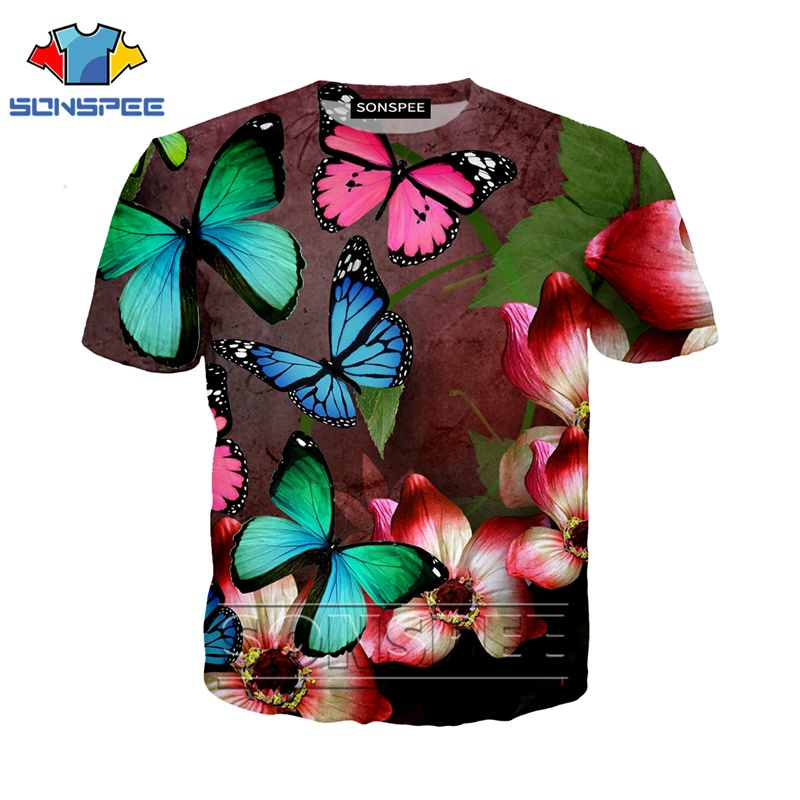 Anime Shirt 3D Print Animal T Shirt Streetwear Butterfly Men Rock Flower Women Fashion T-shirt Harajuku Kids Shirts Homme Tshirt