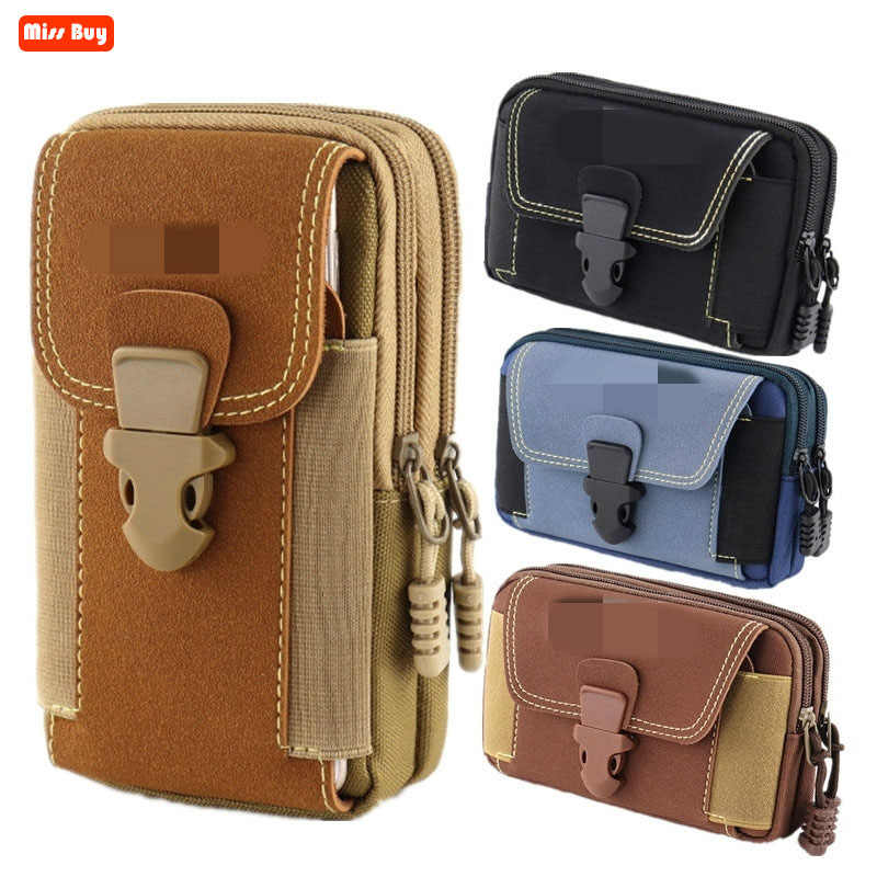 Universal Canvas Waterproof Mobile Phone Bag For Samsung/iPhone/Huawei/HTC/LG/Xiaomi Wallet Case Belt Pouch Coin Purse Cover