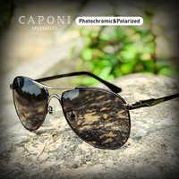 Caponi condução photochromic alta qualidade óculos de sol polarizados marca clássica para homens óculos de sol masculino cp8722
