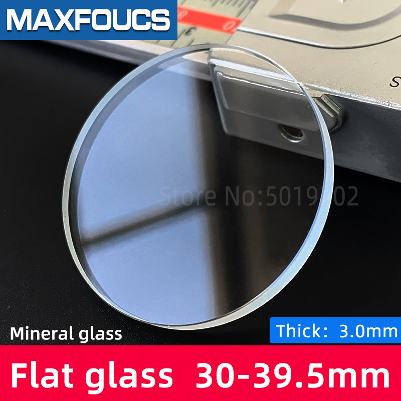Flat 3.0mm thick 30-39.5mm dia Watch cryastal Mineral glass watches parts , 1 pieces