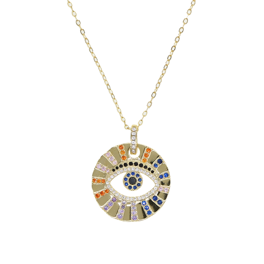 Women/'s Gold Plated Blue Evil Eye Crystal Pendant Chain Necklace  Jewelry Gift