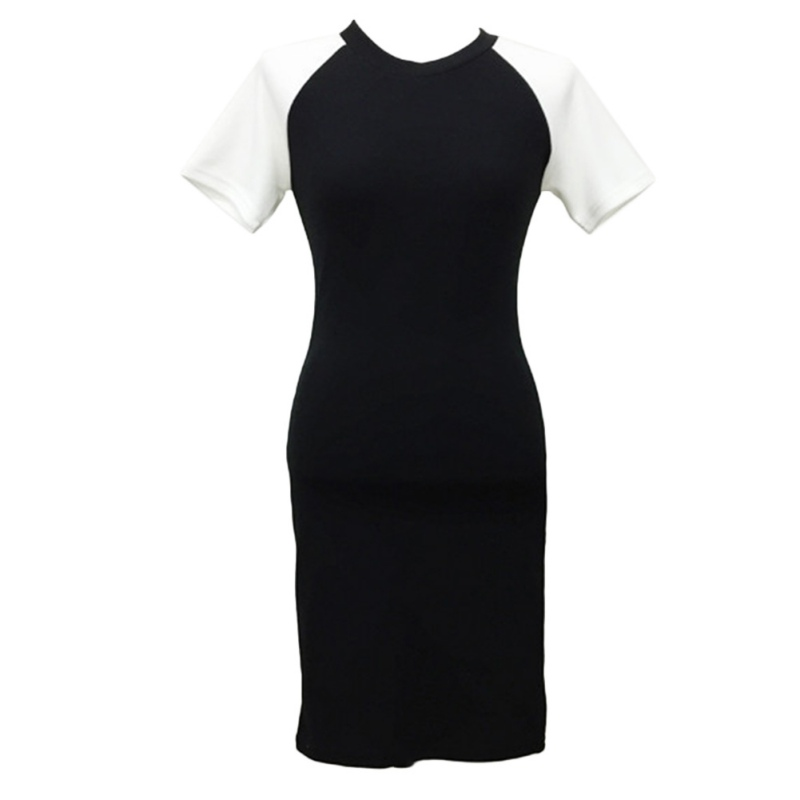 2020 New Contrast Color Women Sexy Hip Dresses Short Sleeves Slim Simple Dress
