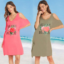 Cover ups Womens Letters Print Baggy Swimwear Bikini Beach Dress T-Shirt