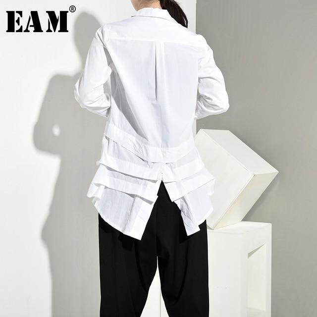 [EAM] Women White Back Long Pleated Asymmetrical Blouse New Lapel Long Sleeve Loose Fit Shirt Fashion Spring Autumn 2020 JR3900