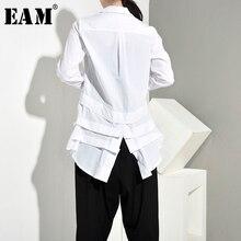 [Eam] 女性白バックロングプリーツ非対称ブラウス新ラペル長袖ルーズフィットシャツファッション春秋2020 JR3900