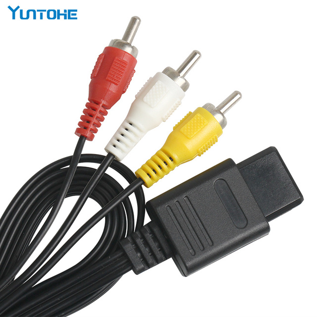 95pcs Lots Factory 1.8M 6FT AV TV RCA Video Cord Cable for Game Cube/for SNES GameCube/for N64 64 Game Cable Lowest Price