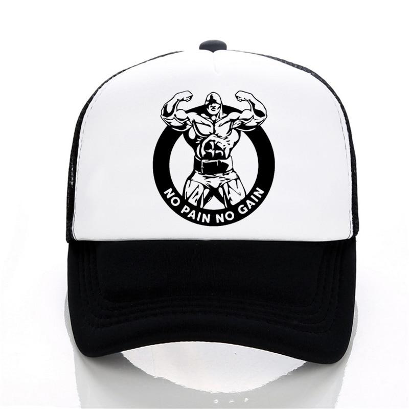 Brand NO PAIN NO GAIN Bodybuilding Gyms Men Cap Summer Mesh Cool Baseball Cap No Pain No Gain Letter Hat Men Women Snapback Hat