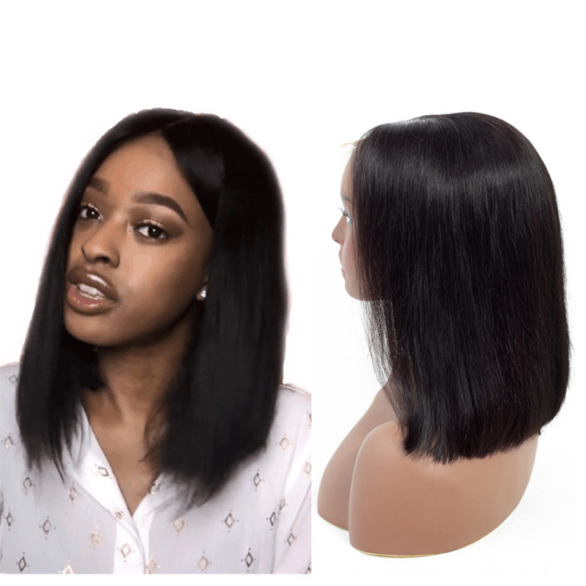 Short Lace Front Human Hair Wigs Malaysian Remy Straight Bob Wigs Blunt Cut Lace Closure wig