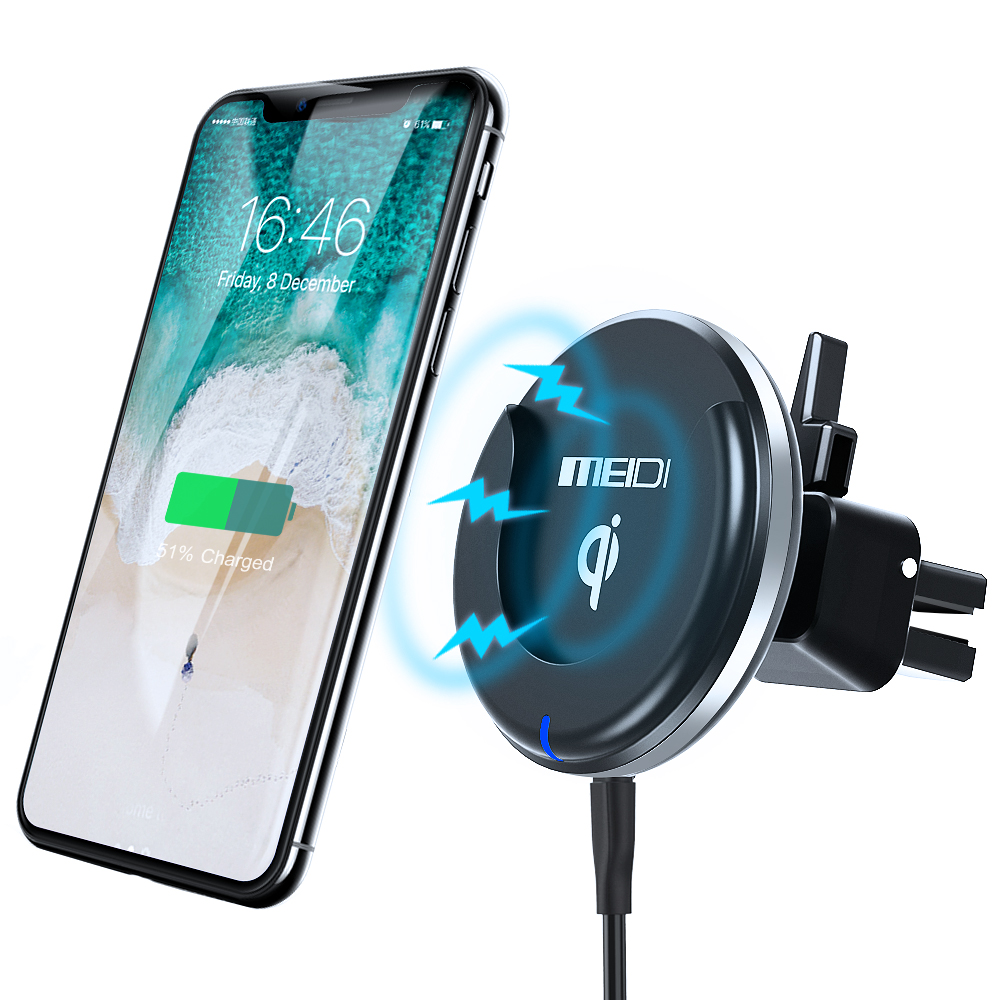 MEIDI Wireless Car Charger Phone Holder Qi Charging Air Vent Mount With Finger Ring Stand Mobile Phone Bracket For Mobilephone