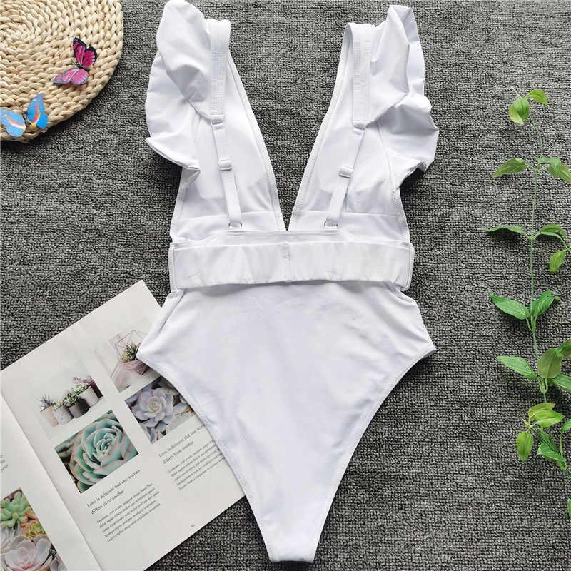 Vigorashely Sexy wysokiej talii stroje kąpielowe kobiety w stylu Vintage One Piece kostium kąpielowy damski pas Monokini 2020 głębokie V strój kąpielowy strój kąpielowy