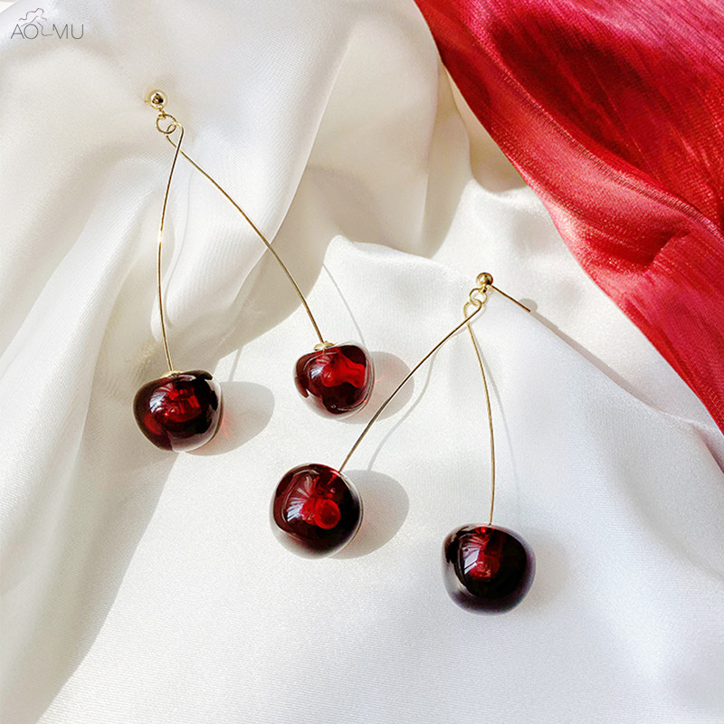AOMU New Fashion Red Cherry Drop Earring Sweet Fruit Long Crystal Earrings for Women Lady Gift Jewelry Tassel Dangle Accessories