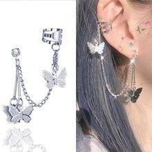 Nova moda punk borboleta clipe brinco para adolescentes mulheres homens orelha punhos liga de zinco legal jóias vintage retro corrente brincos metal