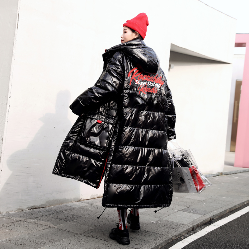 Fluffy printed cotton coats Winter street style warm glossy patent cotton coat parkas female thick longer hooded jacket wq2536