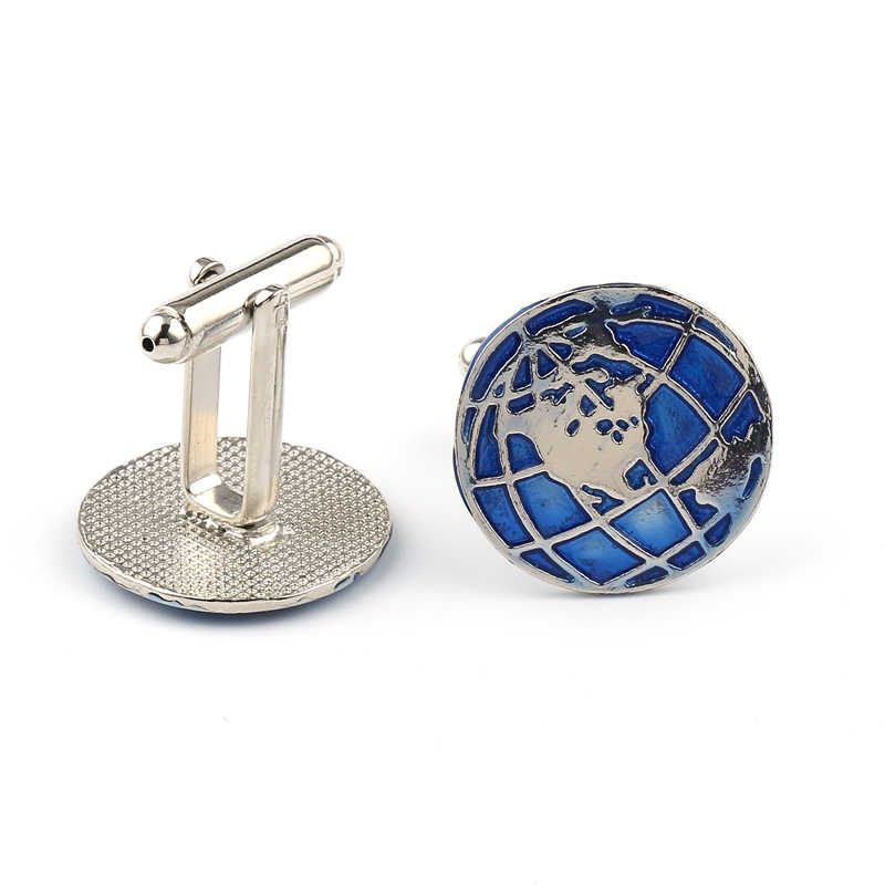 Stylish men's shirt cufflinks, world globe French shirt cufflinks, trendy classic design jewelry