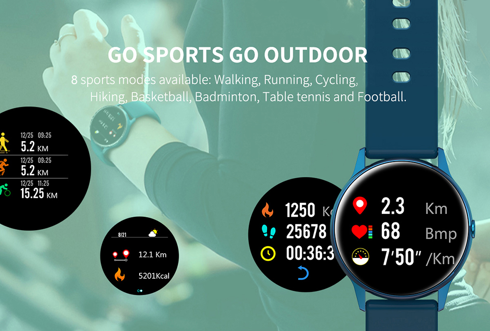 Women IP68 Waterproof Smart Watch for iPhone xiaomi LG with Bluetooth and Heart Rate Monitor Fitness Tracker 14