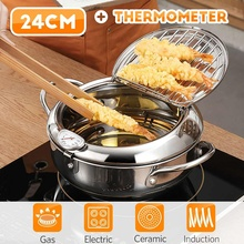 Japanese Style Deep Frying Pot Thermometer Tempura Fryer Pan Temperature Control Fried Chicken Pot Cooking Tools Kitchen Utensil