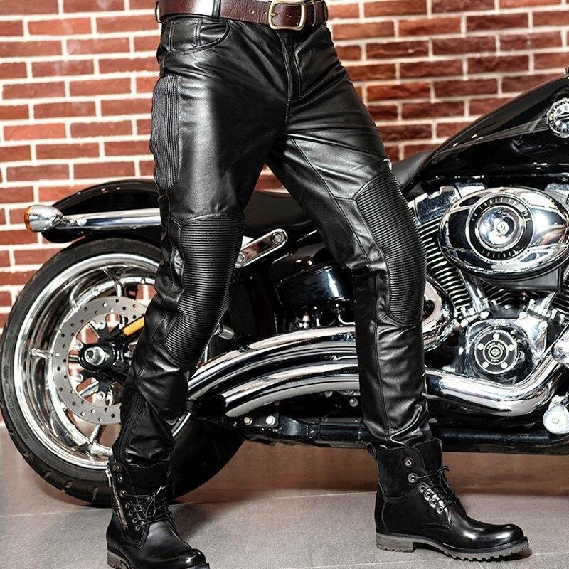 Korean Style Mens Genuine Leather Cow Pants Male New Slim Motorcycle Biker Pants Pantalon Homme Windproof High Quality Plus Size