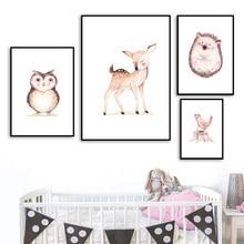 Deer Hedgehog Bird Fox Cartoon Wall Art Print Canvas Painting Nordic Posters And Prints Pictures Baby Kids Room