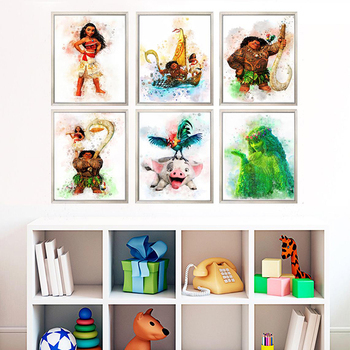 Disney obraz na płótnie Moana Maui Pua Hei Hei TeFiti plakaty i druki obraz na ścianę do salonu wystrój pokoju dziecięcego tanie i dobre opinie CN (pochodzenie) Wydruki na płótnie Pojedyncze PŁÓTNO Wodoodporny tusz Animacja bez ramki Nowoczesne Malowanie natryskowe