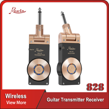 Rowin 2.4G Guitar Wireless System Transmitter Receiver For Electric Guitar Bass Golden Color aroma aru 03s uhf wireless digital audio transmission transmitter receiver system for guitar bass