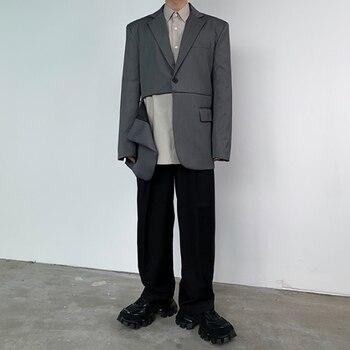 Male Japan Korea Streetwear Vintage Blazer Coat Outerwear Men Invisible Zipper Split Casual Suit Jacket