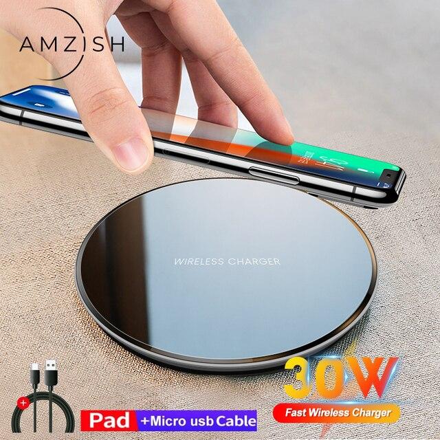 Amzish 30W Qi 빠른 무선 충전기 아이폰 12 11 프로 Xs 최대 미니 X Xr 8 무선 충전 패드 삼성 s8 s9 s10 참고