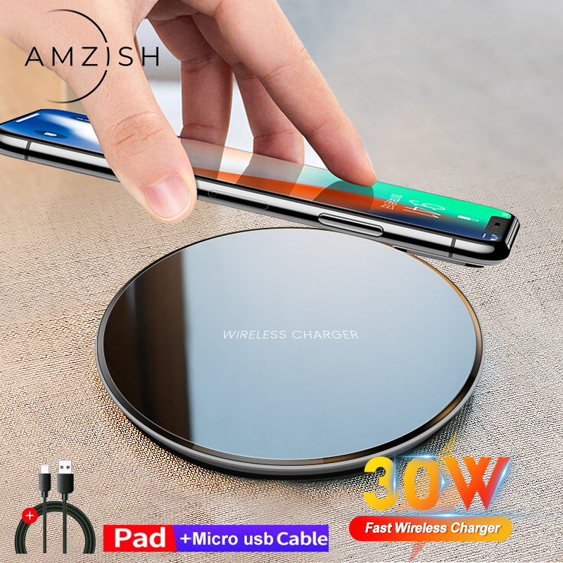 Amzish 30W Qi Fast Wireless Charger For iPhone 12 11 Pro Xs Max Mini X Xr 8 Wireless Charging Pad For Samsung s8 s9 s10 note
