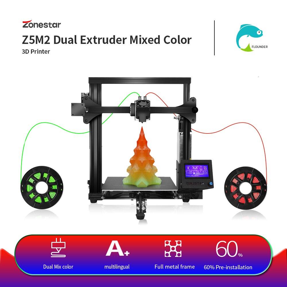 ZONESTAR Z5SM2 double extrudeuse Auto mélange couleur taille moyenne Impresora Imprimante offre spéciale pas cher 3D Imprimante kit de bricolage livraison gratuite