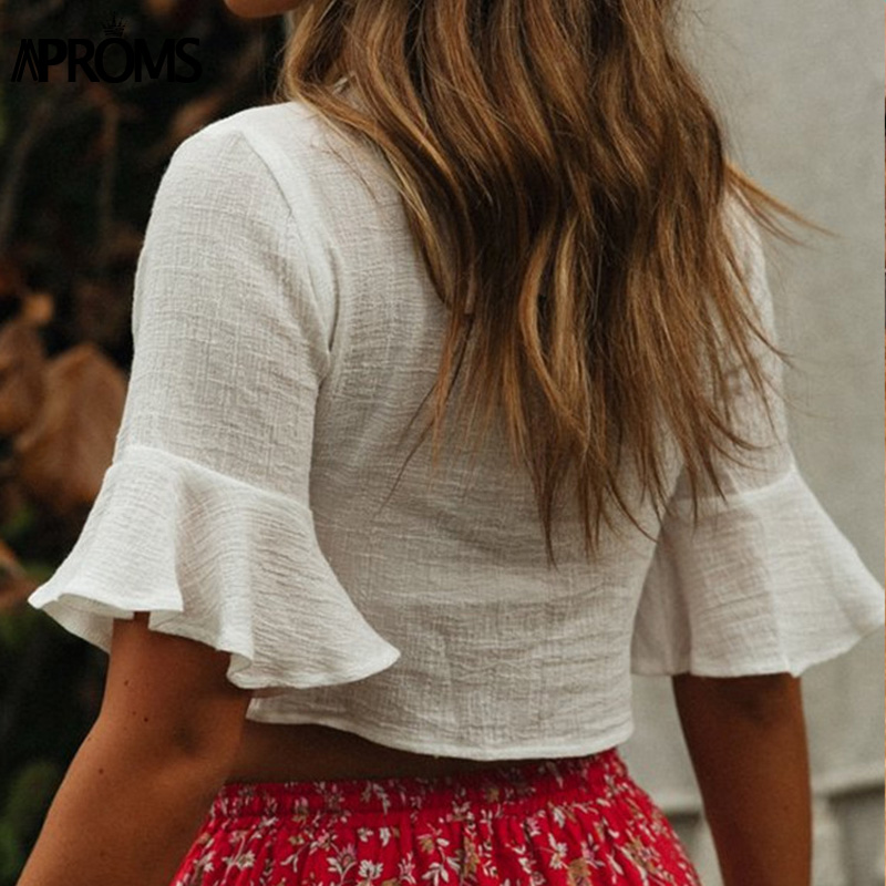 Aproms Elegant White Lace Up Shirt Women Casual V-Neck Half Sleeve Cropped Blouse Female Summer Street Beach Hollow Out Top 2020