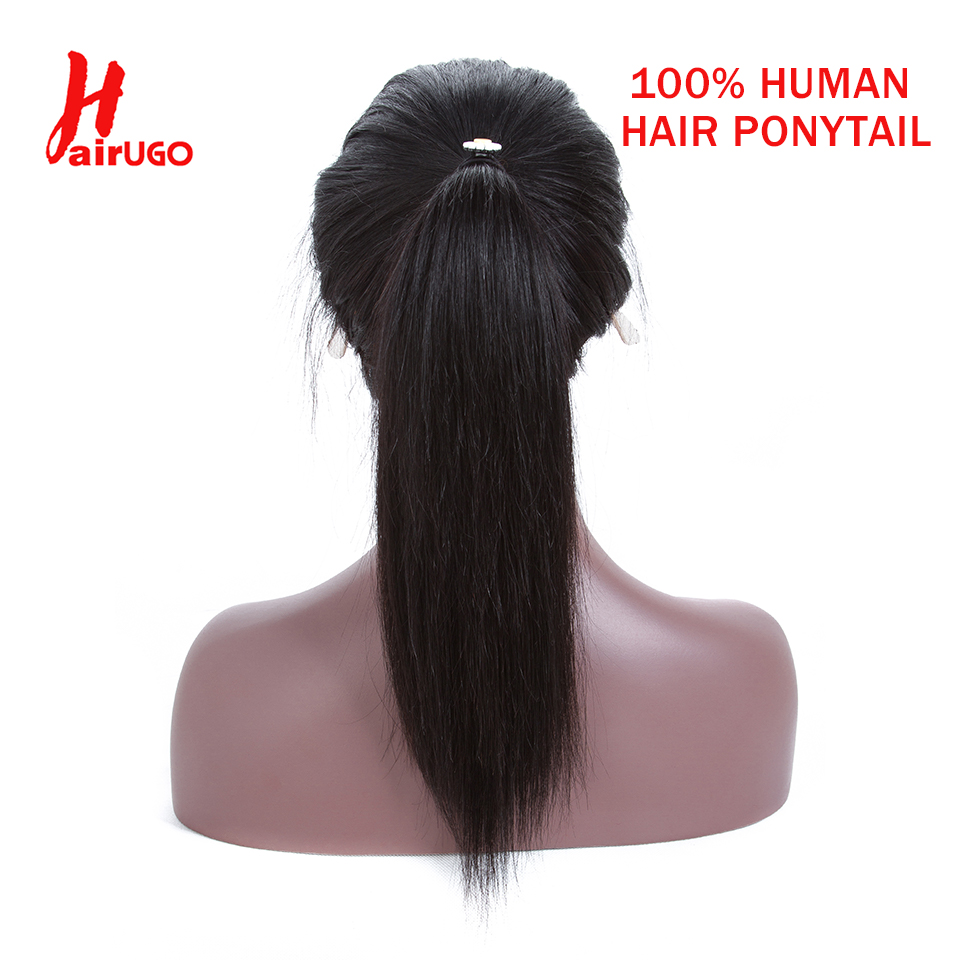 HairUGo Brazilian Hair Ponytail Clips-in Human Hair Extensions 12-22 Inches Non-Remy Horsetail Natural Straight 100% Human Hair