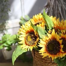 1Pcs/7Flower Sunflower Plantas Artificiales Para Decoracion Artificial Flowers Gift For Friend/Teacher/Boss/Person you adore D35