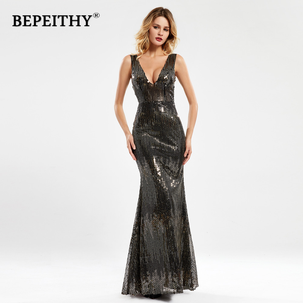 BEPEITHY Black Lace Long Prom   Dresses   2020 Bestidos De Gala V Neck Mermaid Glitter Party   Cocktail     Dress   Vestido Gala Mujer