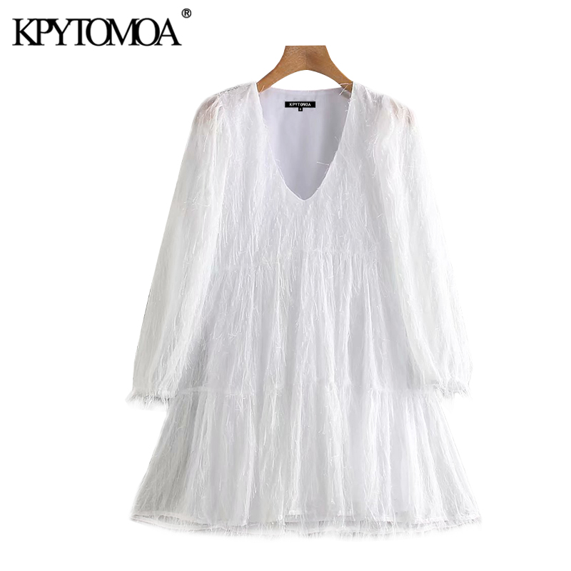 KPYTOMOA Women 2020 Chic Fashion With Lining Tassel Mini Dress Vintage V Neck Long Sleeve Ruffled Female Dresses Vestidos Mujer