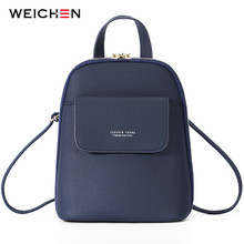 WEICHEN Multi-Function Women Backpack Fashion Small Backpack Female Leather Ladies Shoulder Bag Girl Satchel Mini Mochila Purse