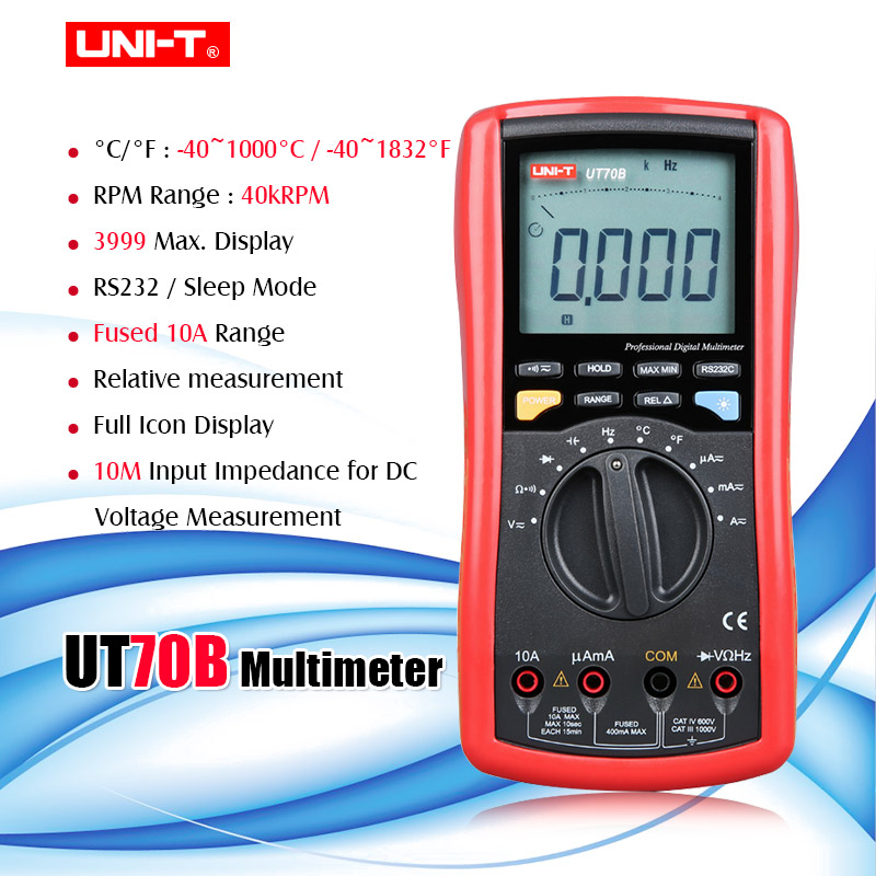 UNI-T UT70B LCD Digital Multimeter Auto Range Frequency Conductance Logic Test Transistor Temperature Analog Display