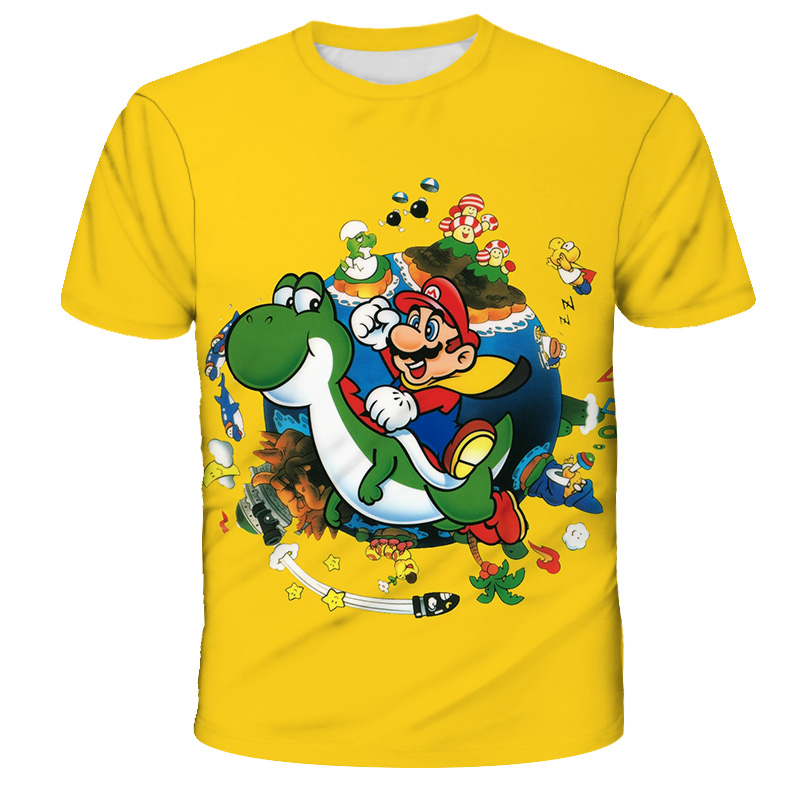 Summer Children Short Sleeve T-Shirts Kids Cartoon Super Mario Print Boys Girl Tops Tee Mario Brother Fashion Polyester T Shirts