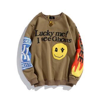 KANYE Smiley Flame Print Round Neck Sweatshirt Men and Women Plus Velvet Streetwear Stranger Things Hoodie Pullover Mens Hoodies 1