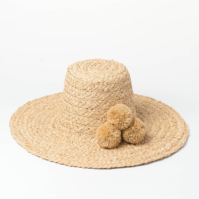 Hand-made Raffia High Fur Ball Decoration Hat Wide Brim Hat Sun Protection For Ladies Womens Summer Caps