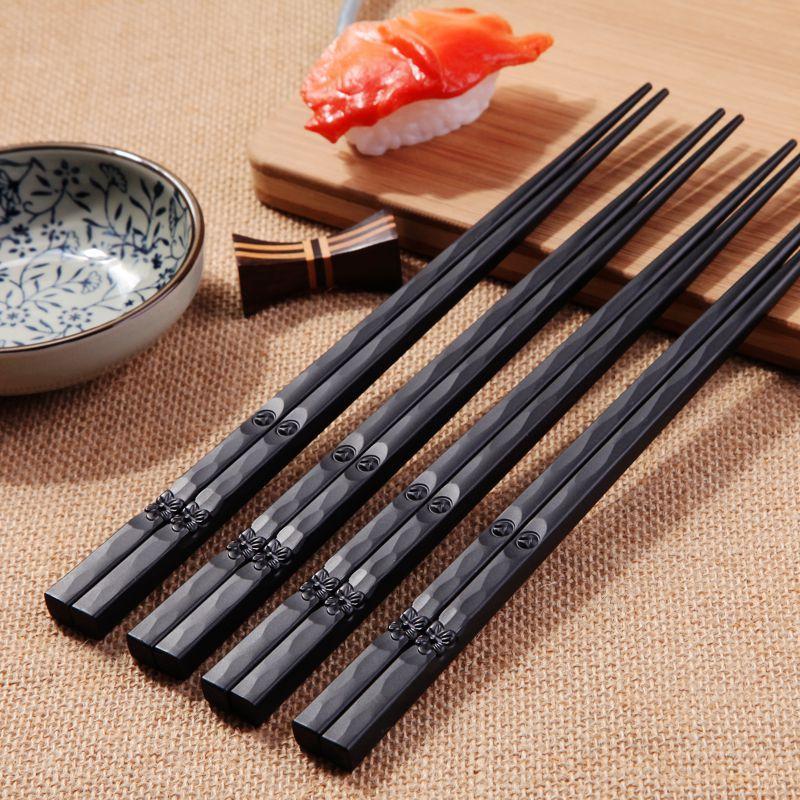 Нескользящие палочки для еды, многоразовые прочные пластиковые гладкие палочки для суши в китайском стиле, черная нить, для кухни, 1 пара