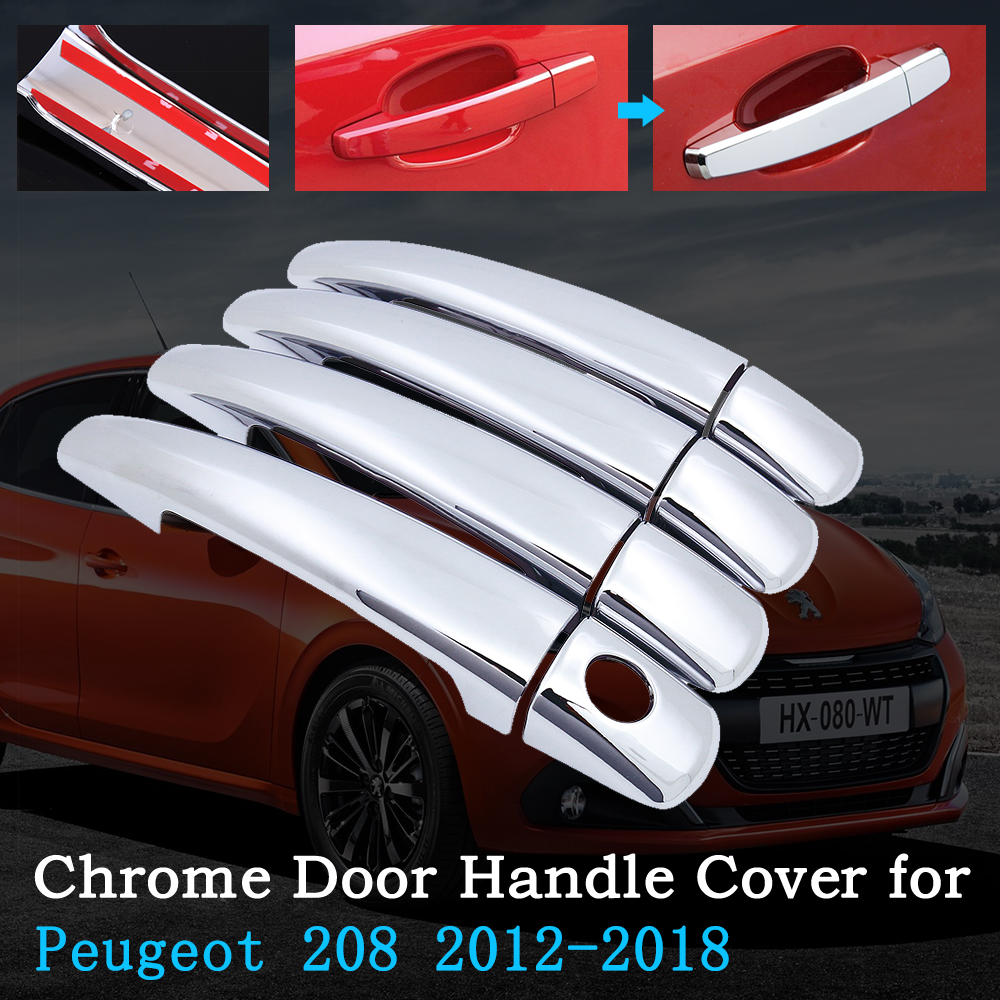 Chrome Car <font><b>Door</b></font> <font><b>Handle</b></font> Cover for <font><b>Peugeot</b></font> <font><b>208</b></font> 2012~2018 Luxurious Trim Set Exterior Accessories Stickers 2013 2014 2015 2016 2017 image