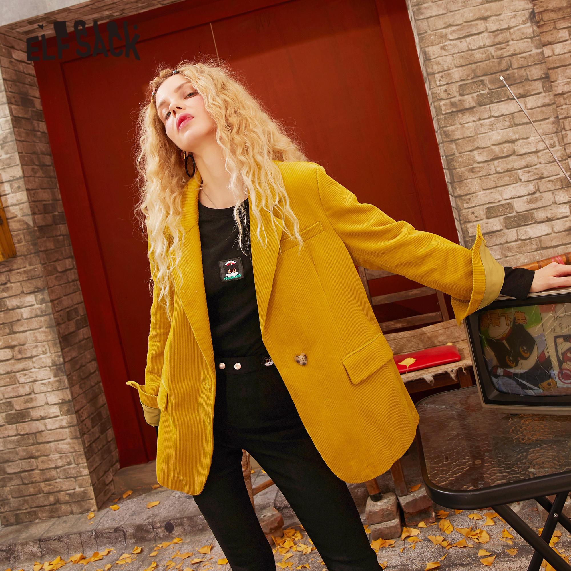 ELFSACK Yellow Solid Single Breasted Casual Corduroy Blazer Women 2020 Spring Vintage Caramel Long Sleeve Korean Female Jackets