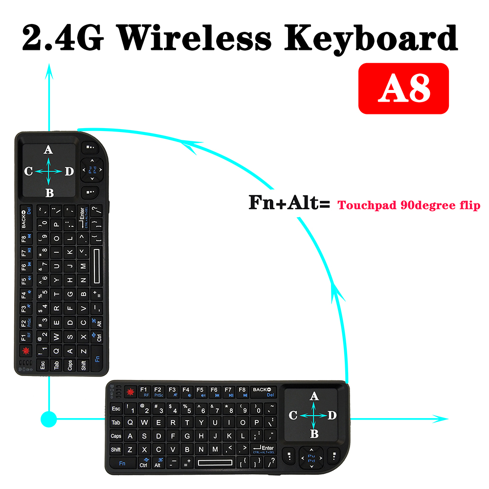 Spanish Russian English 3 in 1 mini Handheld 2 4G RF wireless Keyboard With Touchpad Mouse