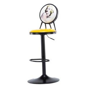 Barra elevadora de hierro, silla, mesa de bar y silla, taburete moderno minimalista, taburete creativo de bar de escritorio frontal