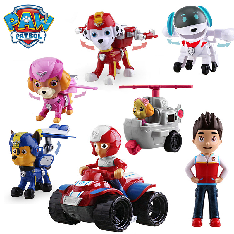 Paw Patrol Dog Puppy Patrol Car Patrulla Canina Action Figure Model Marshall Chase Ryder Vehicle Car Kids Boys Toy Gifts