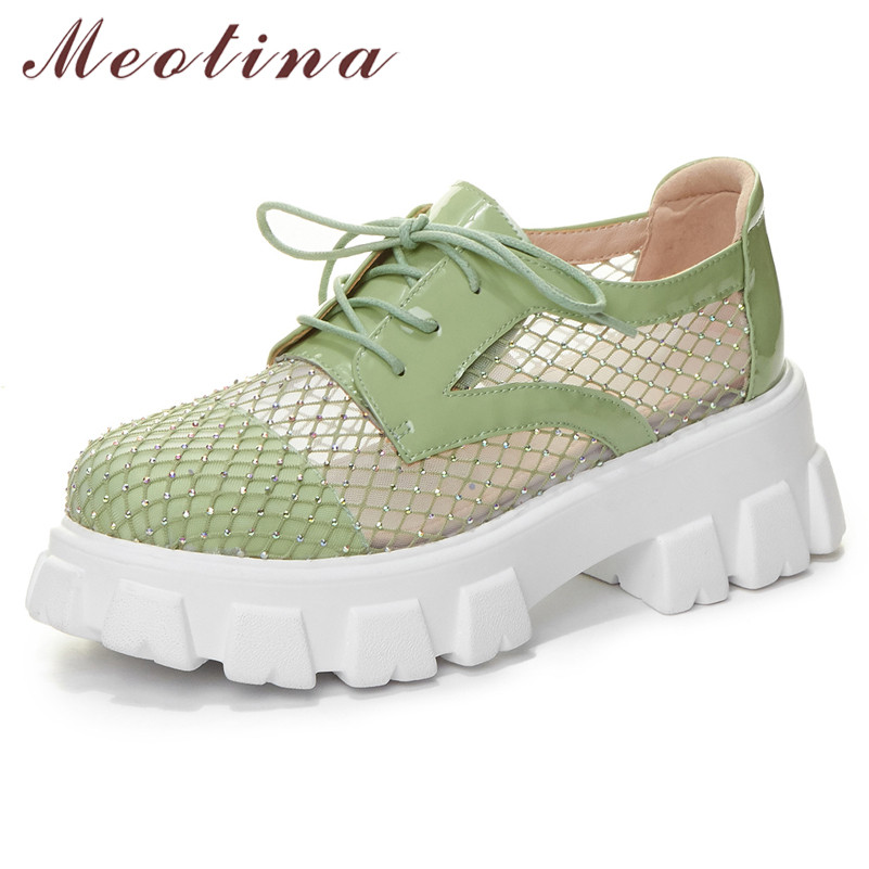Meotina High Heels Women Pumps Natural Genuine Leather Platform Thick High Heels Shoes Mesh Cutout Lace Up Shoes Lady Size 34-39
