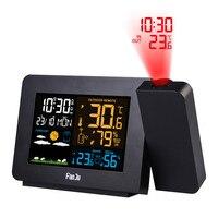 Digitale Wekker Weerstation Led Temperatuur Vochtigheid Weersverwachting Snooze Functie Tafel Klok Met Tijd Projectie