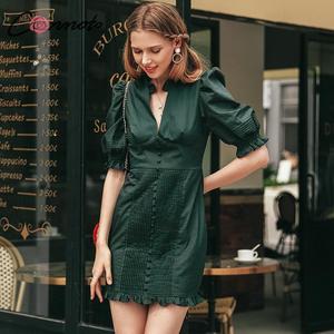 Image 2 - Conmoto élégant vert vintage robe de soirée femmes pour la nuit plissé court dames robe automne hiver 2019 robes vestidos