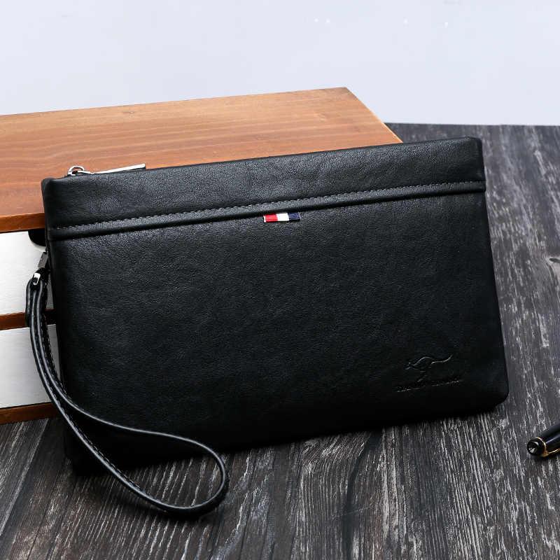 KANGOEROE Luxe Merk Mannen Clutch Bag Lederen Lange Portemonnee Geld Tas Zakelijke Polsbandje Telefoon Portemonnee Mannelijke Toevallige Handige Tas Voor IPAD