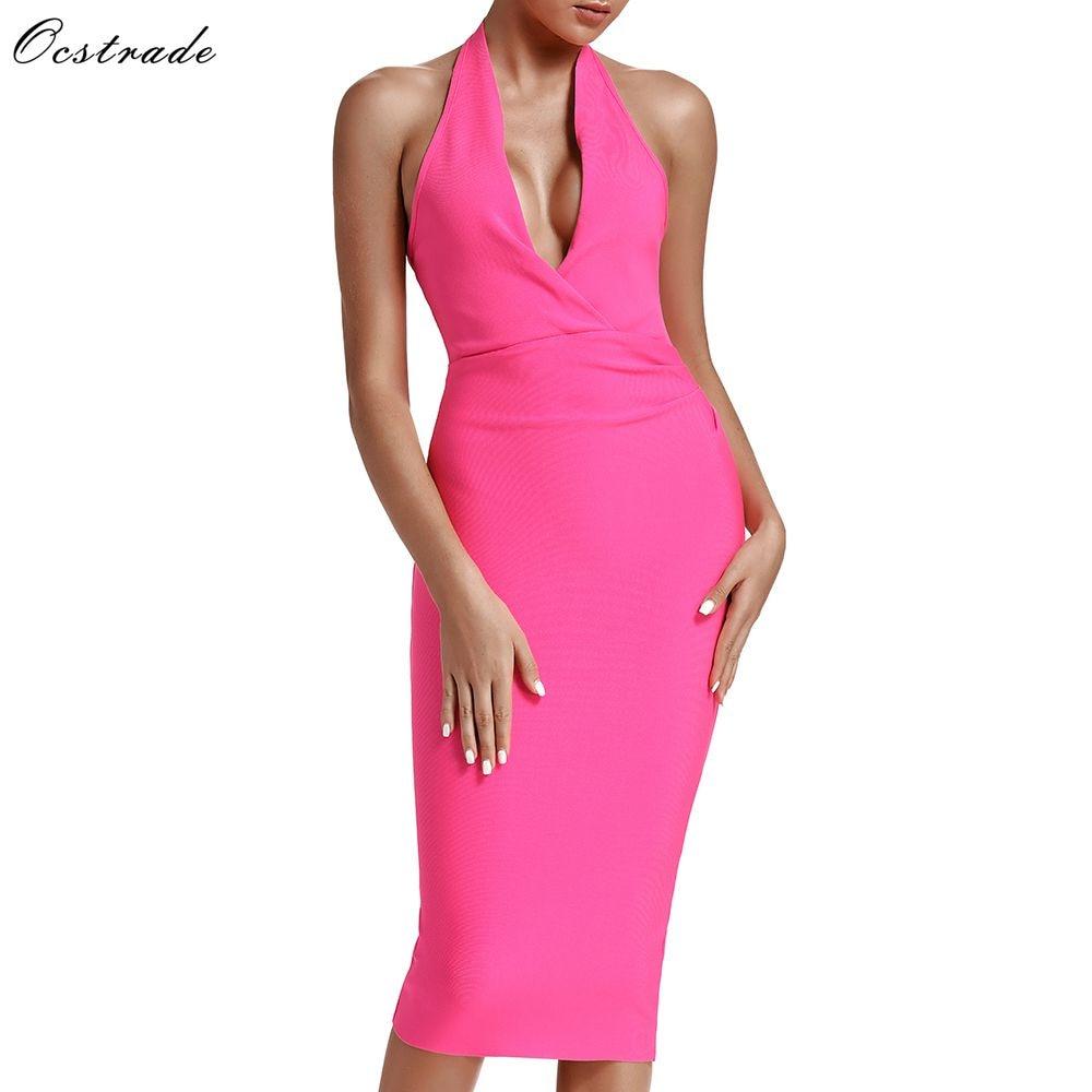 Ocstrade 2019 Summer Women Sexy Midi Bandage Dress Bodycon Draped Neon Pink Bandage Dress Rayon Halter Party Night Club Dress